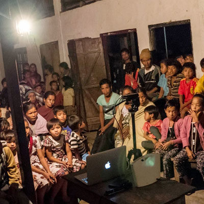A community screening of a Participatory Video in India