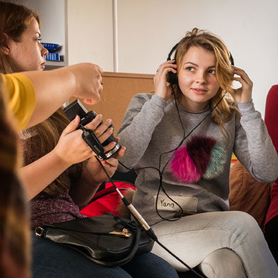 Young women in Ukraine during a Participatory Video workshop