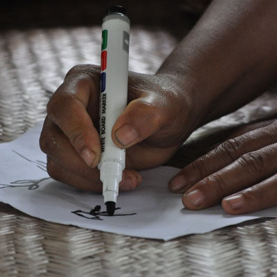 A hand drawing with a marker pen during a Participatory Video workshop