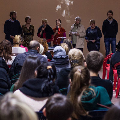 A group of Internally Displaced People (IDPs) from Donetsk, in the Ukraine, present their video to an audience