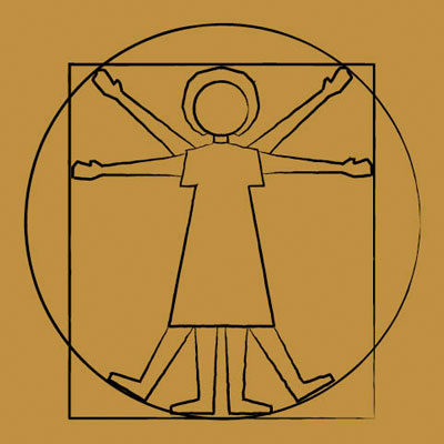 A cartoon of a community member in the style of da Vinci's Vitruvian Man