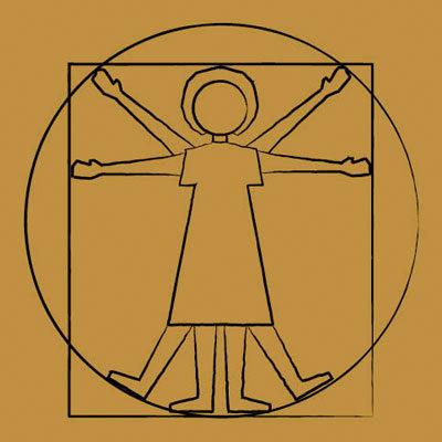 A cartoon of a community member in the style of da Vinci's Vitruvian Man