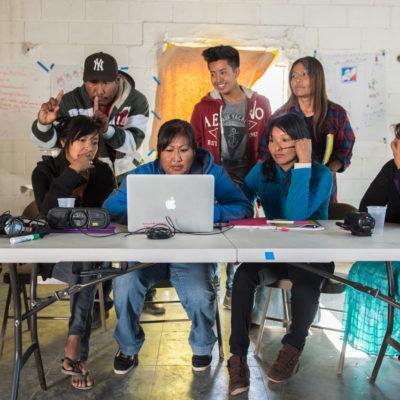 Yaqui and Comcaac Participatory Video facilitators editing their videos