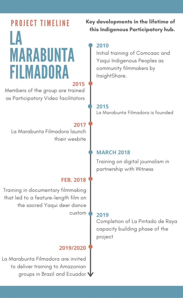 A timeline infographic of the key developments in the history of La Marabunta Filmadora