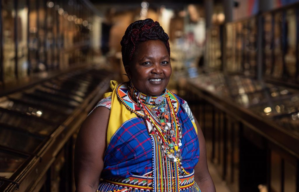 Maasai delegate Juliana Living Cultures Project in Pitt Rivers Museum.