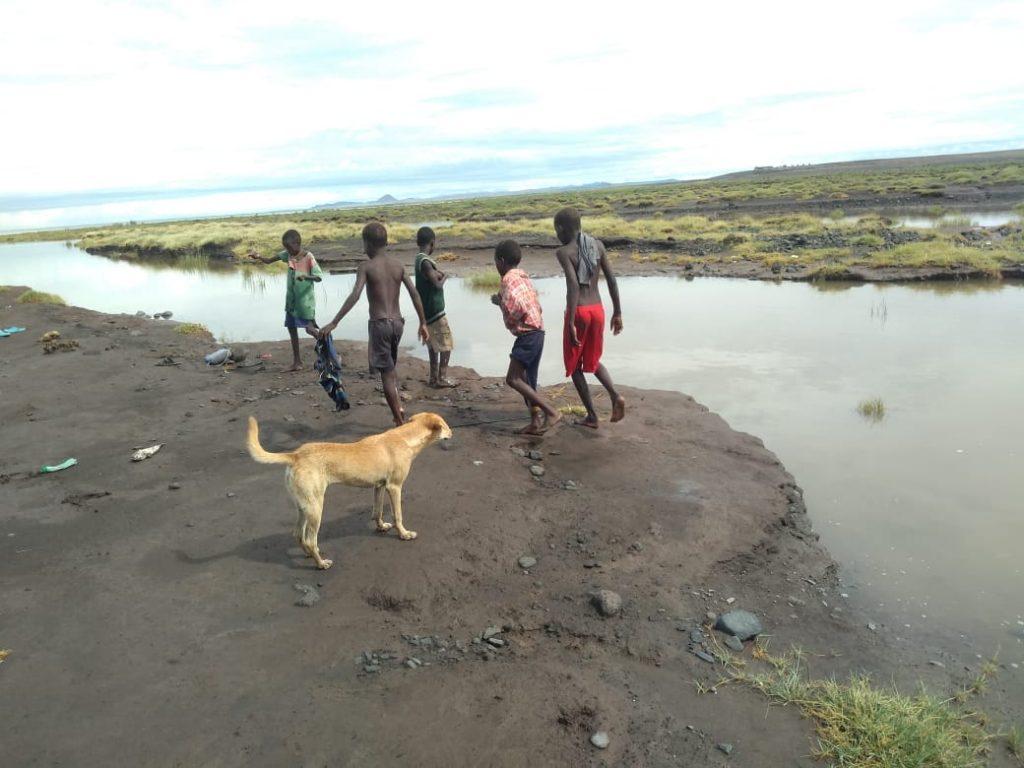 El Molo children fishing in Lake Turkana